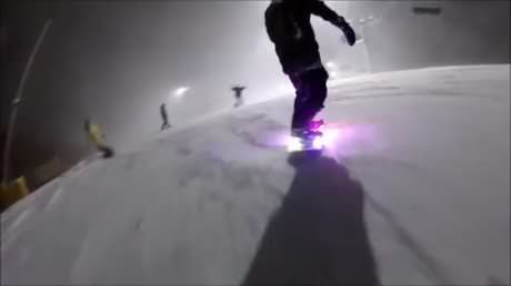 LED Snowboard in action
