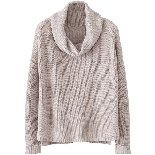 Poetry Ribbed Knit Jumper ($125) ❤ liked on Polyvore featuring tops, sweaters, long sleeve tops, sweaters/cardigans, oyster, chunky cowl neck sweater, boxy sweater, drop-shoulder tops and long sleeve jumper