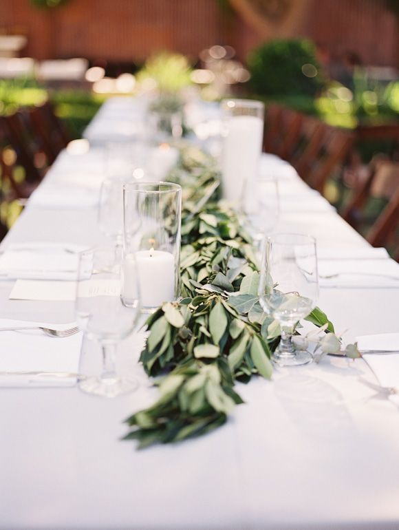 Green Table Runner. Soft Grey, Blue And Sage Green Inspired Real Wedding