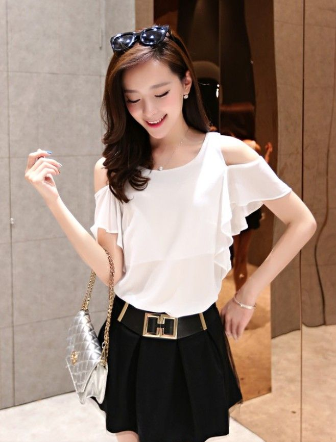 2015 summer top, chiffon tops, asian chiffon tops, casual chiffon top, new fashion, short-sleeved chiffon top, korean clothing store, asian clothes online store, korean chiffon tops, YRB fashion