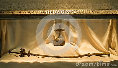 Poland, Cracow Krakow - interior of Wawel cathedral. The regalia orb and sceptre of St Jadwiga, Queen of Poland