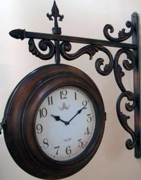 13quot double sided antiqued train station style wall clock for Train station style wall clock