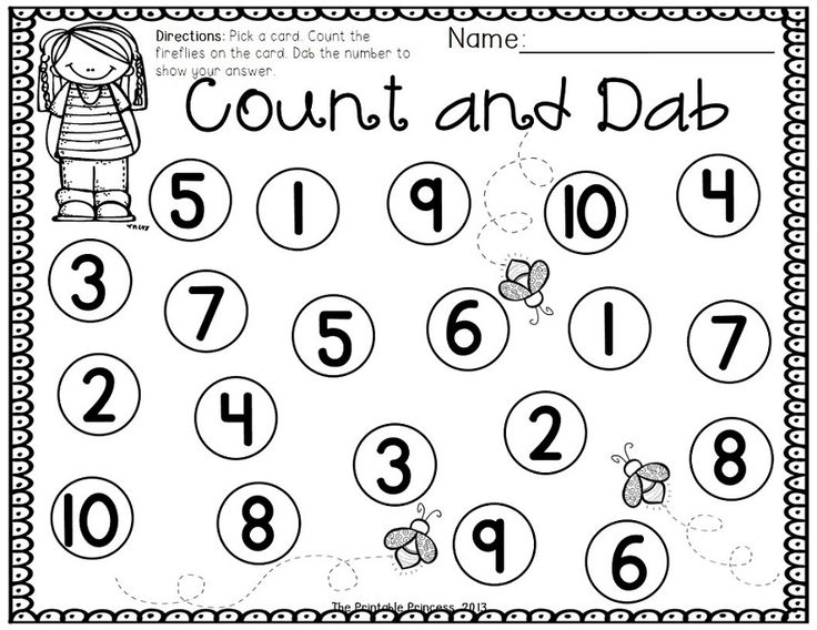 "Students pick a card, count the number of fireflies then use a bingo dabber to ""dab"" the number to show their answer."