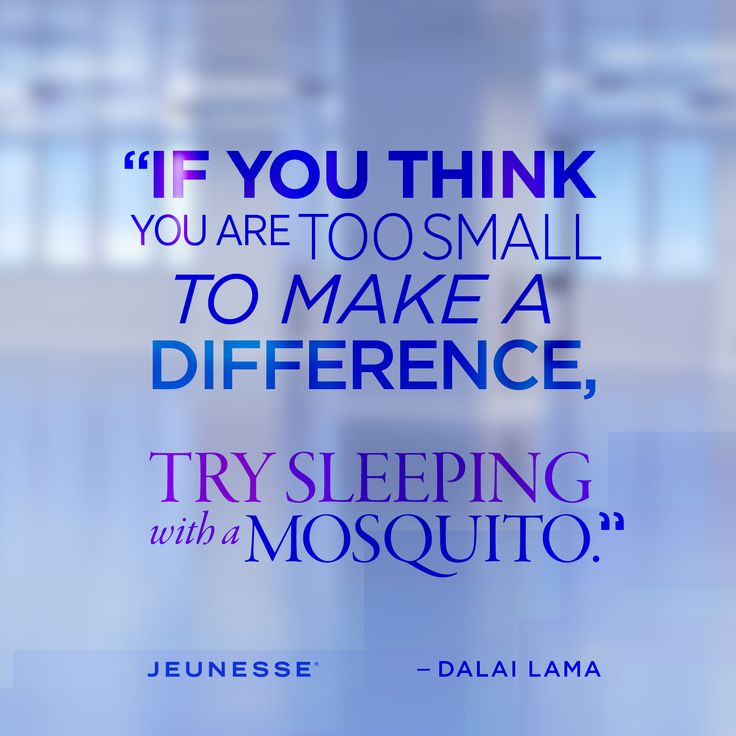 If you think you are too small to make a difference, try sleeping with a mosquito. -Dalai Lama