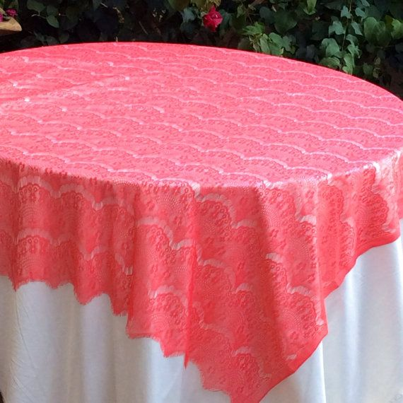 6ft Coral Lace Overlay Tablecloth Wedding Table Overlay, 60in wide x 75in Long, Coral Wedding Decor on Etsy, $14.95