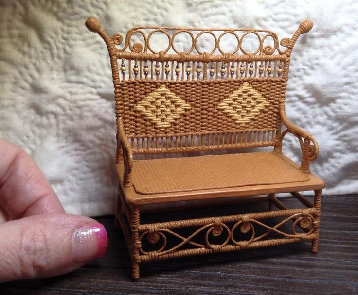 Haywood-Wakefield wicker settee with diamond back pattern and glass bead detail. By Jan Surette of Jantiques Miniature Arts, Riverview, NB, Canada.