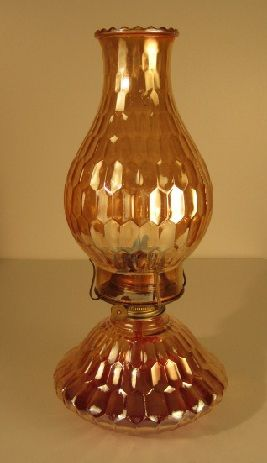 Vintage carnival glass Jeannette Glass Company - We would LOVE to have a lamp like this one!