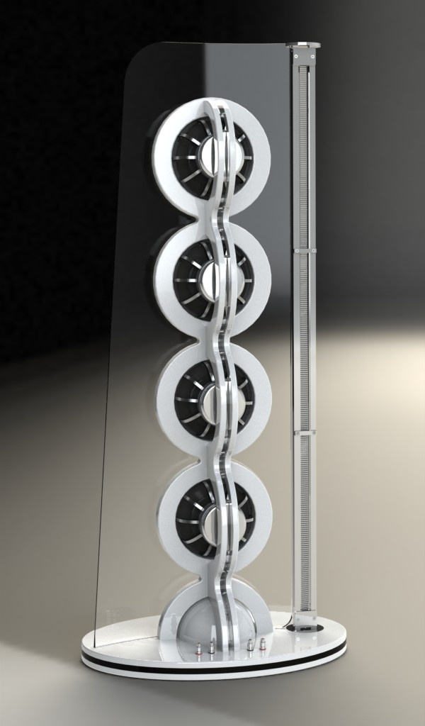 SoulSonic Impulse Supreme Loudspeaker – rear view – from Slovenia. Made of Wood and Plexiglass