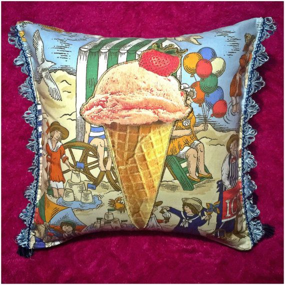 Small Strawberry ice cream photography pillow with by RSKSdesign