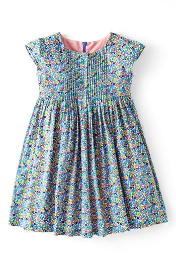 Mini Boden 'Pretty Pintuck' Print Cotton Dress (Toddler Girls) | Nordstrom