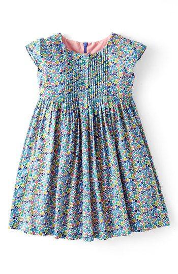 Mini Boden 'Pretty Pintuck' Print Cotton Dress (Toddler Girls)   Nordstrom