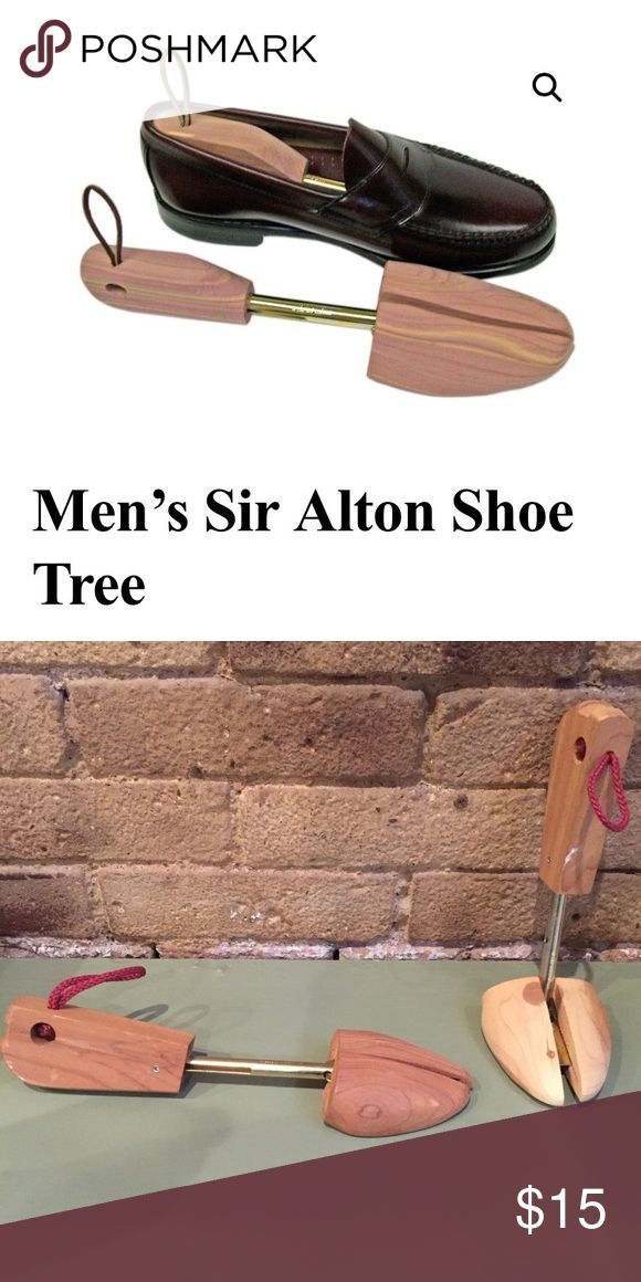 Pair of men's cedar Shoe trees- M Pair of men's cedar Shoe trees- M  The Sir Alton features a cedar split-toe with a genuine rawhide looped heel for easy removal and storage.Rochester split-toe shoe trees work great for a wide range of sizes, including many hard to fit widths.All shoe trees are made out of Eastern red cedar, a wood recognized for its beauty, durability, moisture absorption and aromatic properties.Increasing the useable life of shoes is an environmentally positive feature of…