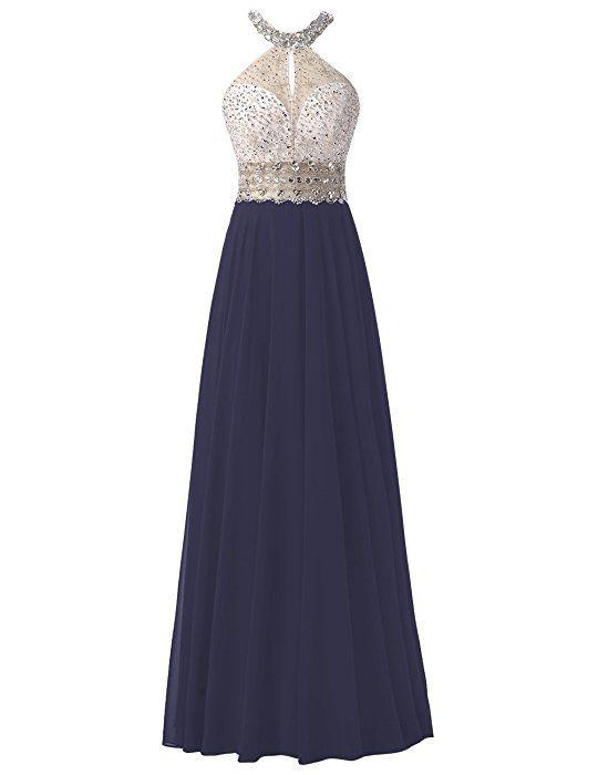 Dresstells® Long Chiffon Halter Neck Prom Dress With Beading Evening Party Wear