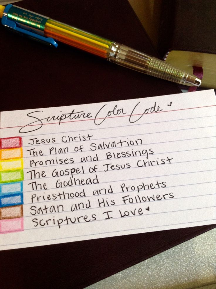 """Scripture Color Coding Chart!❤️This one uses the Pentel PH158...""""For my soul delighteth in the scriptures, and my heart pondereth them..."""" 2 Nephi 4:15☀️"""