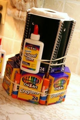 """School Supply """"Cake"""" (with tutorial)-great Back to school gift or teacher appreciation gift"""