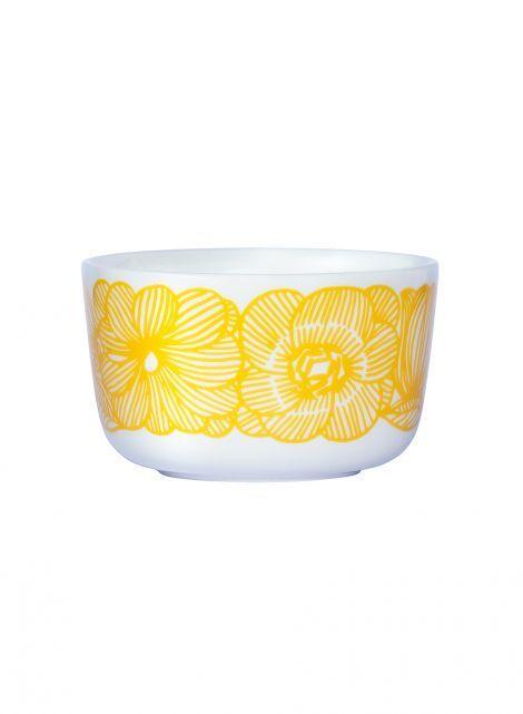 Oiva/Kurjenpolvi bowl (white, yellow) |Décor, Kitchen & Dining, Dinnerware, Kulhot | Marimekko