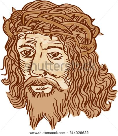 Etching engraving handmade style illustration of Jesus Christ face with crown of thorns set on isolated white background.  - stock vector #crucifixion #sketch #illustration