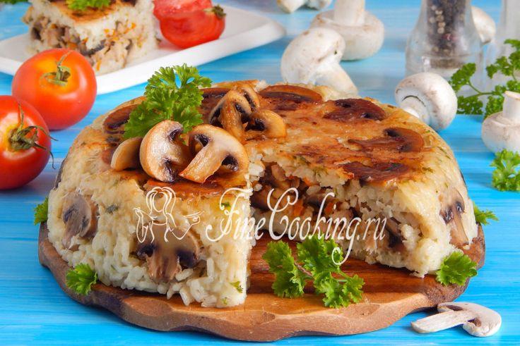 Рисовая запеканка с курицей и грибами в мультиварке