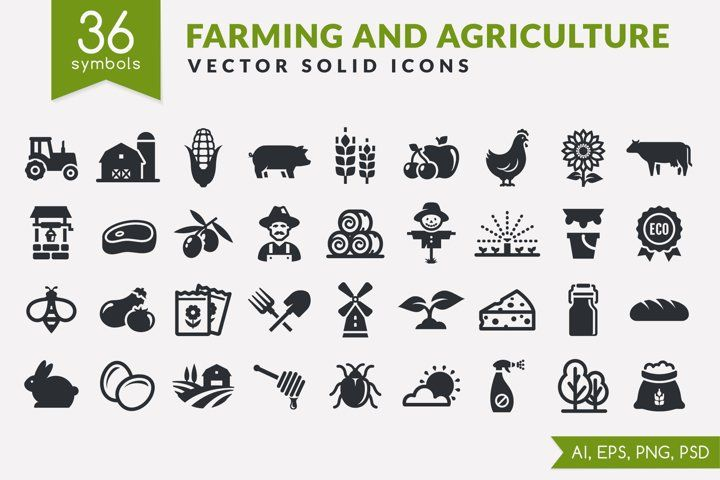 Farm And Agriculture Icons 981205 Icons Design Bundles In 2021 Web Application Design Icon Adobe Illustrator Vector