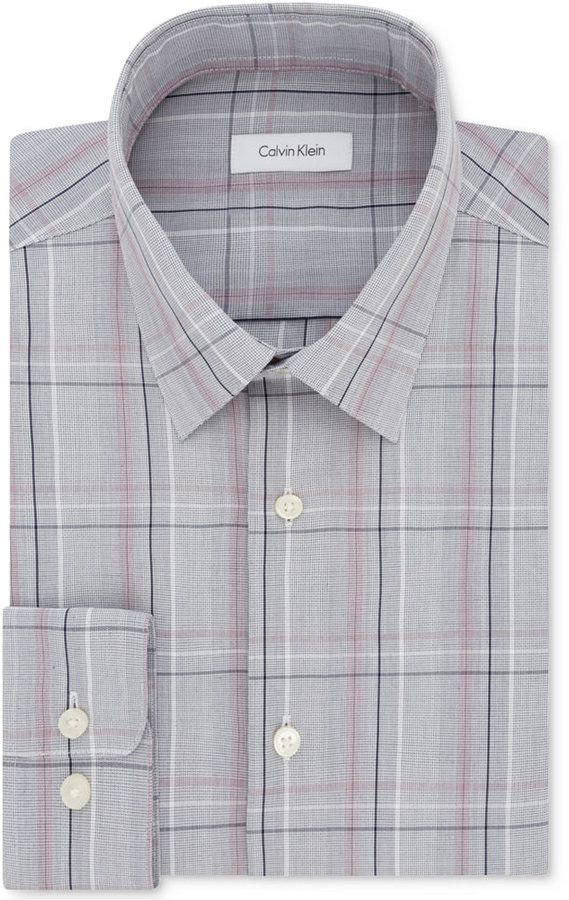 Calvin Klein Men's Classic/Regular Fit Non-Iron Performance Gray/Red Check Dress Shirt