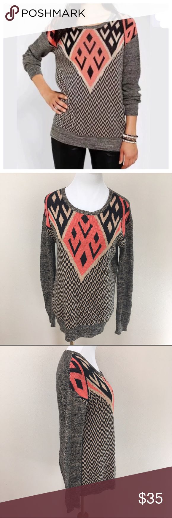 Ecote Anthro Intarsia Pullover Aztec Sweater Small Ecote Intarsia Pullover Aztec Pattern Black Pink Sweater Small. Excellent condition! Clean and comes from smoke free home. Questions welcomed! Anthropologie Sweaters Crew & Scoop Necks