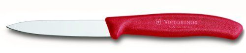 "Victorinox Swiss Classic 3 1/4"" Paring Knife, Spear Tip, Red by Swiss Army Brands. $11.02. Lifetime warranty. The choice of professionals, nsf (national sanitary foundation) approved. Dishwasher safe. Ergonomic Fibrox Handles are Slip Resistant. Made in switzerland by master cutlers. Trusted by professionals for generations and now available for the home chef!  Our Swiss Classic Collection incorporates a new contemporary, more ergonomic handle with our traditional commer..."
