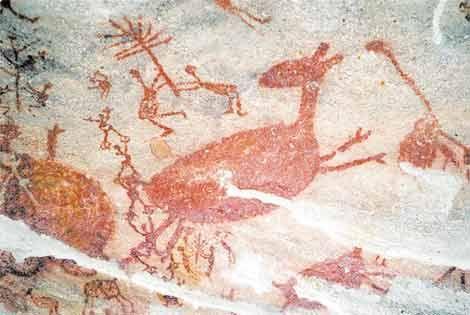 005 - Pintura rupestre do Parque Nacional da Serra da Capivara em São Raimundo Nonato - PI