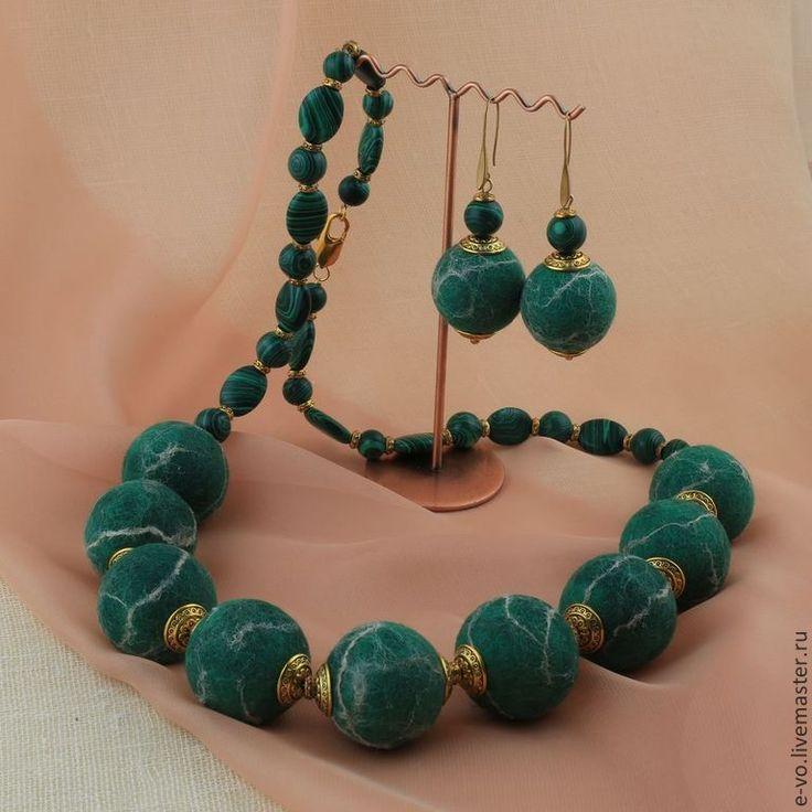 Купить Бусы «Нефрит» - зеленый, бусы, войлочные бусы, украшение, войлок, аксессуар, шерсть, меринос