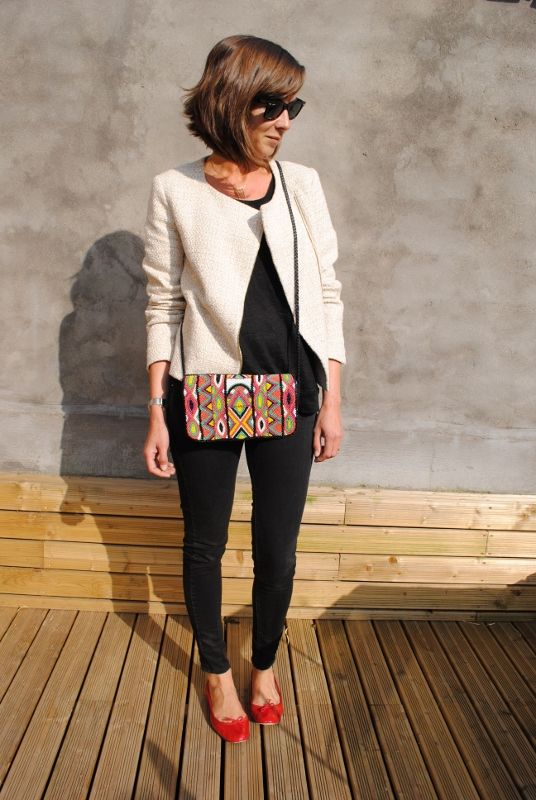 Veste Promod, Top Zara, sac Pimkie, ballerines Repetto