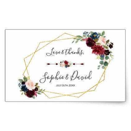 Merlot Navy Blue Floral Gold Frame Wedding Rectangular Sticker In
