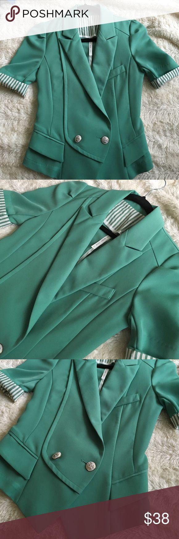 Very cute green blazer Great condition blazer. I bought this from another posher. Super cute but it doesn't fit me since I gained some weight after buying it. I've only worn it once. It is priced so I can make my money back but I am open to offers. ICON Jackets & Coats Blazers