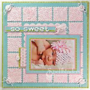 Cute Baby Layout. Great way to use embossing folders, I'd make the layout a little less busy though.