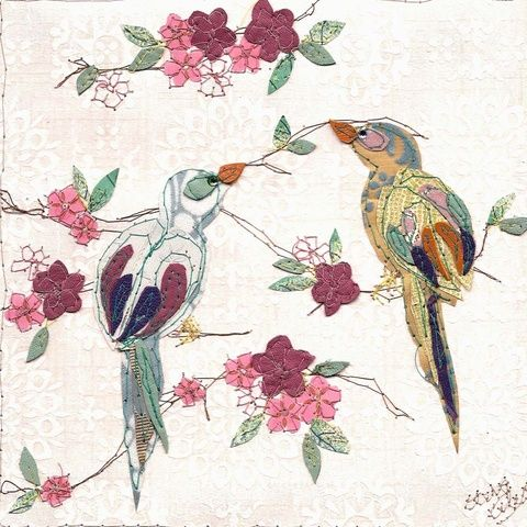 love birds 2 ~ claire coles ( website ) stitching on wallpaper