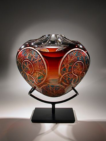 Artist David Schwarz Titled Z.A.O.F. 11-23-09 16 x 14 x 11 in. Blown, etched, carved and painted glass sculpture; metal stand