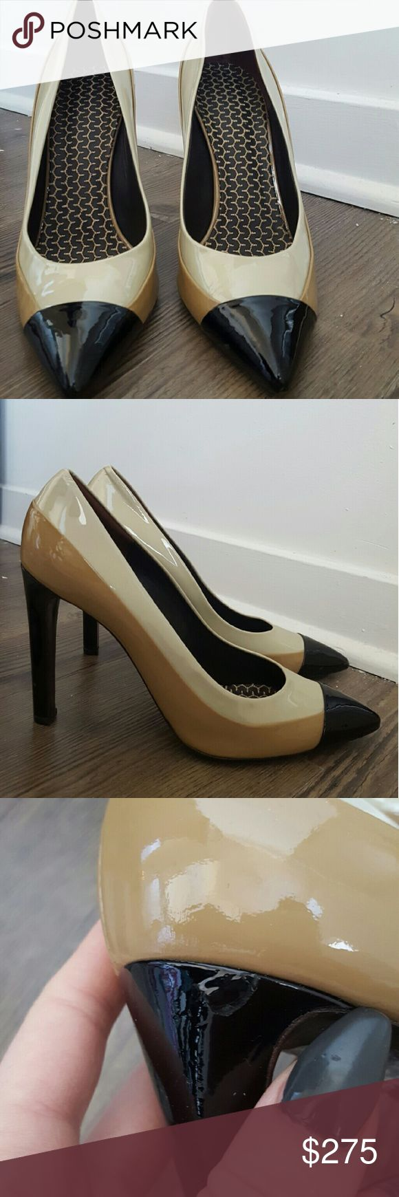 """Belstaff """"Chester"""" Pump Size 41 (fits 9.5) Belstaff """"Chester"""" Tri-Color Patent Pump in sand-beige-black  Some original stickers still in tact Slight scuffing on bottom of shoe and a small tear in right outside heel (see photo) Belstaff Shoes Heels"""