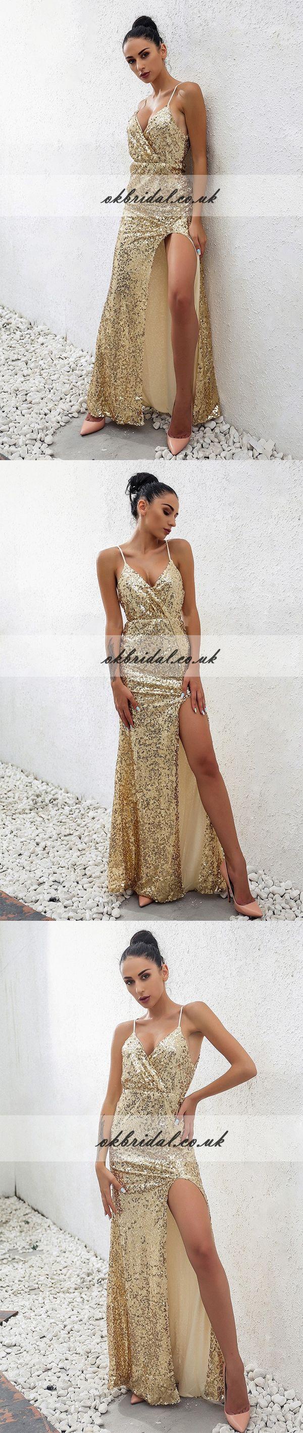 Spaghetti Straps Sequin Prom Dress, Sexy V-Neck Side Split Prom Dress, KX253 #okbridal #promdress