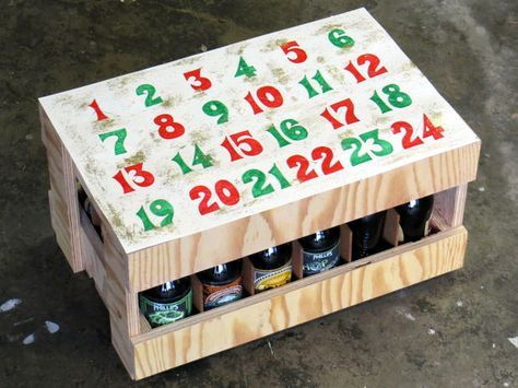 A booze filled advent calendar? Great idea for those friends who enjoy a cold one at the end of the day. This time of year, simply keep the crate out in the garage to chill them. To better hide what's inside, simply cover the sides with a festive gift wrap.