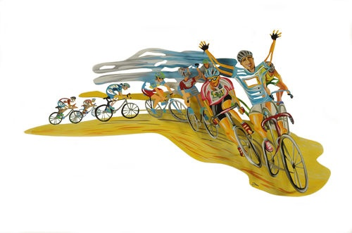Beautiful wall sculpture, The Winner bicycle the race