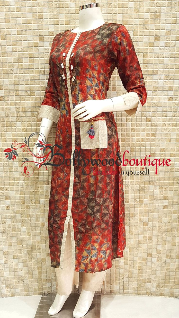 Designer Kurti 99 Fabric : Cotton Reyon. Color : Multi Color. Style : Designer Long Kurti. Product Details : Designer long kurti ideal for everyday use as well as small get together. Digital printed designer long kurti with discharge prints in multi color pattern. Price : Rs: 1800 / –