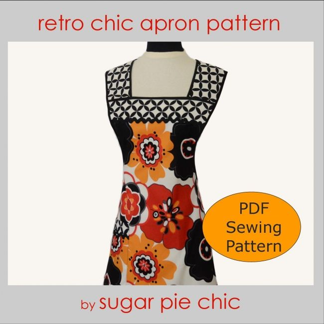 Vintage Apron Patterns Printable | apron anthropologie inspired apron pattern modern apron vintage apron ...