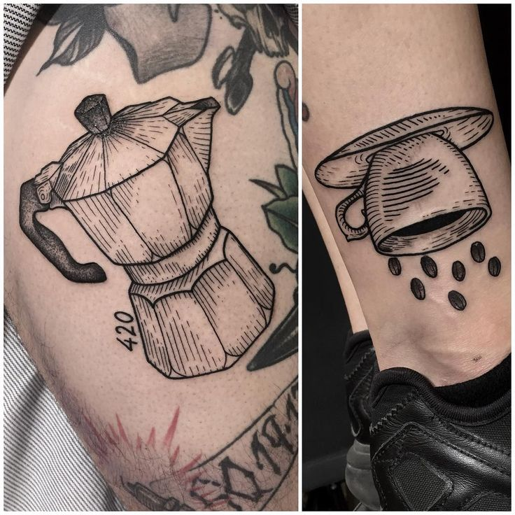 A 420 coffee pot for @cavelluccitattoo and a coffee cup raining grains for his significant other. Go check is awesome work, É nois  Done today @queenofheartstattoos #tttism #lovettt #linework #darkartists #onlyblackart #onlythedarkest #tattooworkers #blxckink #blackwork #btattooing #blacktattoo #blacktattooart #blacktattooing #blacktattoomag #blackworktattoo #blackworkerssubmission #engraved #engraving #etching #balmtattoo #newtattooworkers