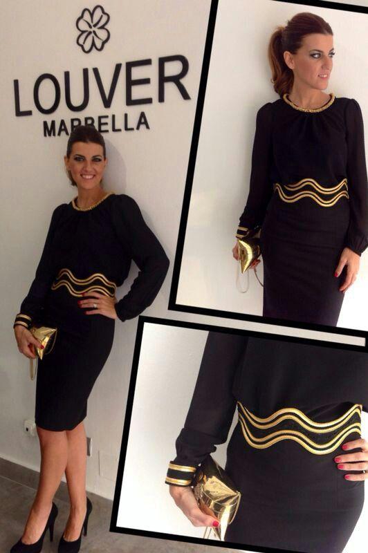 #moda#louver#negro#dorado#faldalapiz#blusa#cinturón#pasamanería