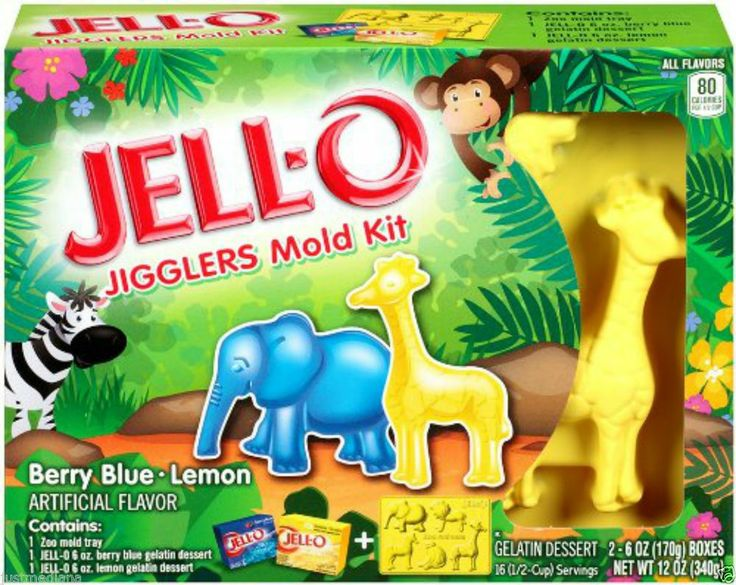 JELL-O Jell-O Jiggler Zoo Mold Kit Berry Blue & Lemon Flavor - Anytime for Fun! - Re-list March 29, 2014 #FreeShipping #$14.99