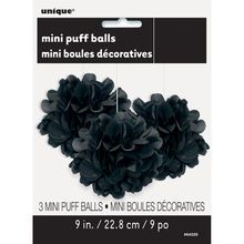 "9"" Black Tissue Paper Pom Poms, 3ct"