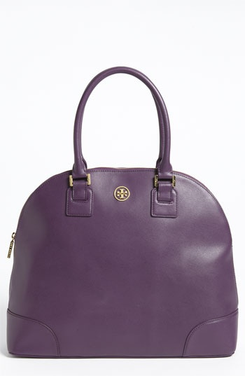 """An elegantly arched top line brings ladylike chic to a smart Saffiano satchel finished with polished gold accents."" Stop it."
