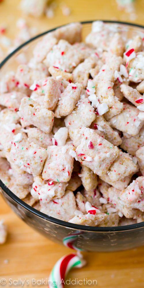 Peppermint Crunch Puppy Chow Recipe! So easy. sallysbakingaddiction.com
