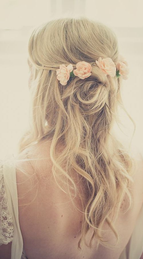 20 Fabulous Bridal Hairstyles for Long Hair: Twisted Half Updo for Thin Hair