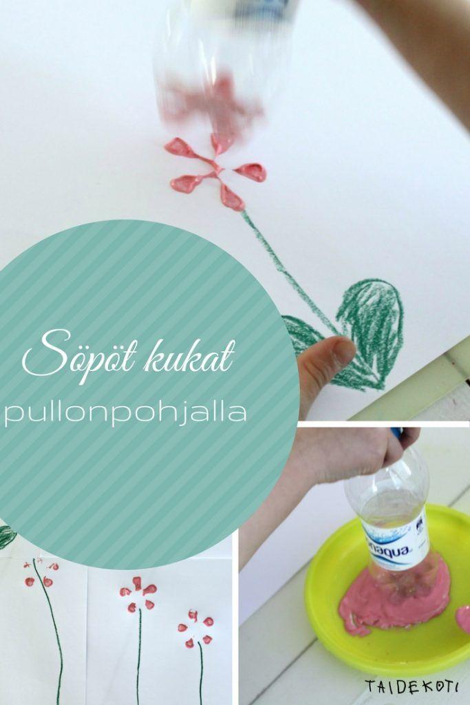 Söpöjä kukkia pullonpohjalla / taidekoti.com