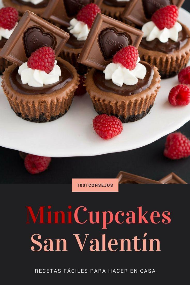 Esta receta de mini #cupcakes es ideal para #SanValentín. No te la pierdas. Es una increíble idea de regalo para el 14 de febrero. | Recetas fáciles y rápidas | Postres San Valentín