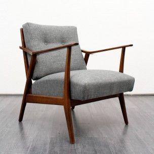 Fauteuil vintage en bois et tissu gris chiné - 1950